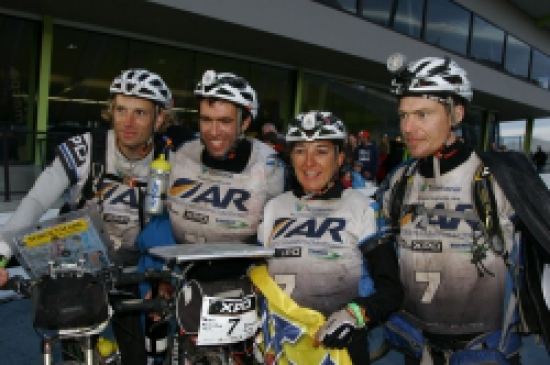 Thule Adventure Team on the finish line of the 2011 ARWC