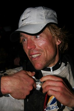 Marcel Hagener on the finish line after winning ARWC 2005 with Team Balance Vector