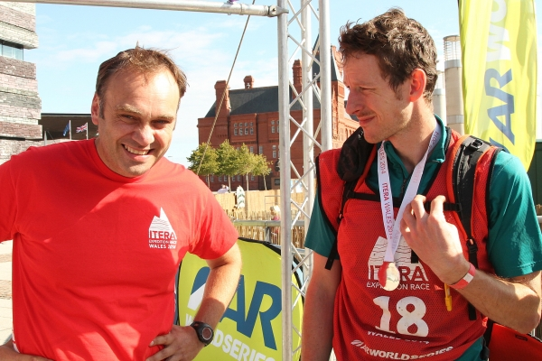 Event Director James Thurlow (L) on the finish line of ITERA Wales