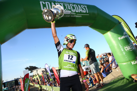 Wanaka's Simone Maier crosses the Kathmandu Coast to Coast finish line in 2019