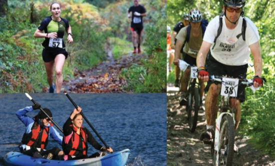 Competing on the off road trails in the Burn Adventure Race