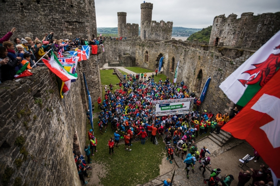 The start of the 2019 Dragon's Back Race at Conwy Castle