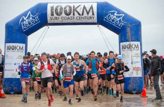 The start of the Rapid Ascent Surf Coast Century Ultra