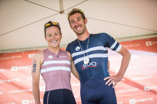 Race winners Samantha Kingsford and Sam Osborne