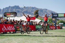 Across the finish line on the Queen Stage at ABSA Cape Epic