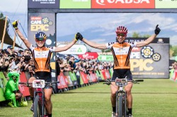 Annika Langvad & Kate Courtney celebrate winning the 2018 Absa Cape Epic