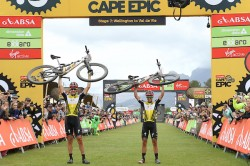 2018 Absa Cape Epic Winners Jaroslav Kulhavy and Howard Grotts of Investec Songo Specialized