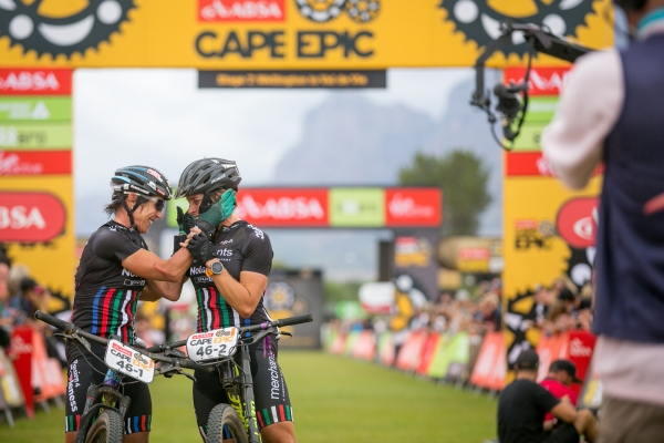 On the finish line at ABSA Cape Epic