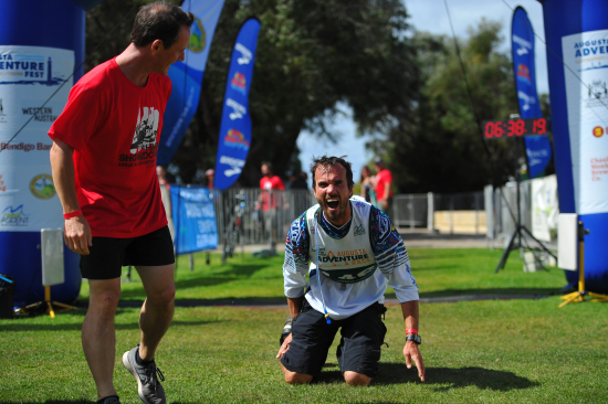 Crossing the line at the last ever Augusta Adventure Fest