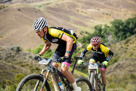 Vink and Rush (Onya Bike North Otago) make their move