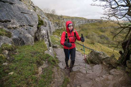 Wet conditions in the early stages of the 2020 Montane Spine Race