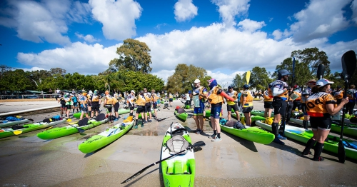 Ready for the kayak start at the Rogue Raid Adventure Race