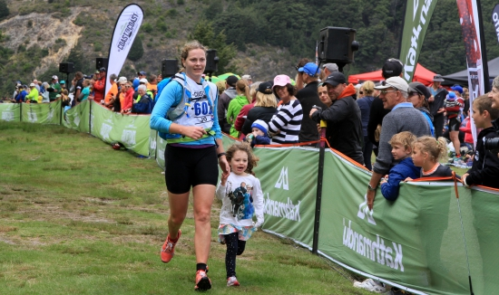 Jo Spencer Bower at the finish of the Kathmandu Coast to Coast race